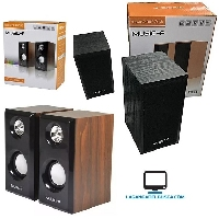 ELECTRONICA   Parlantes Para Pc EP29213 De Madera Super Bass Speaker 2.0 6w