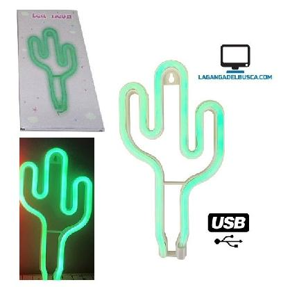 ELECTRONICA   Cartel luminoso CACTUS 25 cm usb Neon