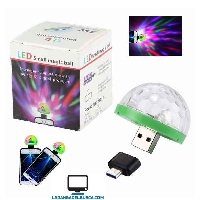 ELECTRONICA   Luz bolichera para celular USB 4 w. 4 cm small magic ball EP28569 con OTG