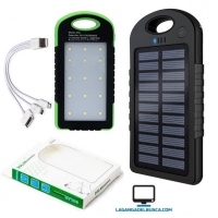 ELECTRONICA   Cargador portatil SOLAR 8000 mAh power bank con linterna 20 leds JK05